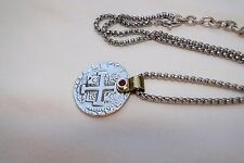 New Brighton Devotion Doubloon Two Tone Silver Red Crystal Coin Altered Necklace