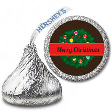 Christmas Wreath - Personalized Christmas Hershey Kiss Stickers-108 Stickers