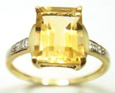 10KT YELLOW GOLD OCTAGON CITRINE & DIAMOND RING   SIZE 7      R1257