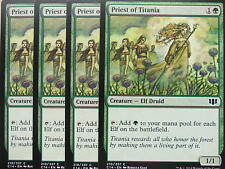 XXX 4x PRIEST OF TITANIA englisch commander 2014 (elf druid green) NM/MINT