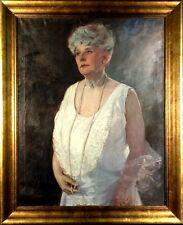 Exquisite ca.1920 Listed Artist Lady Portrait Painting Oil on Canvas w/Frame
