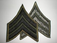 ORIGINAL VIETNAM US ARMY SUBDUED SERGEANT RANK - EMBROIDERED ON TWILL - 1 PAIR
