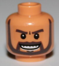 LeGo Flesh Minifig, Head Beard Gray with White Pupils Grin with Teeth Pattern