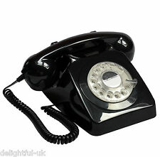 GPO 746 Telephone - Retro Desk Phone with Fully Working Rotary Dial - Black
