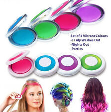 Pack 4 Hot Huez Hues Non-toxic TEMPORARY HAIR CHALK Dye Soft Pastels Salon Kit