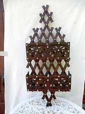Large Victorian Wall Pocket Magazine Holder  Criss Cross Wood Porcelain Buttons