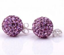 8mm Sterling Silver Purple Pave Crystal Disco Ball Stud Earrings Gift Box F13
