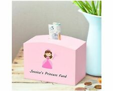 Personalised Princess Pink Wooden Money Box with child's name printed
