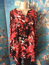 A.N.A PLUS 2X NEW CORAL MIX FLORAL V-BUTTON NECK HI-LO LONG SLEEVE TUNIC TOP