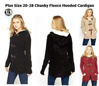 LADIES PLUS SIZE 20-28 FUR HOODED THICK FLEECE KNIT LONG CARDIGAN SWEATER JUMPER