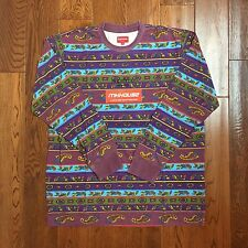 New Supreme Paisley Stripe L/S Top Tee T-Shirt Purple Spring Summer 2016 Size XL