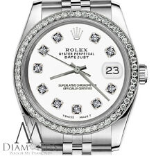 Women`s Rolex 26mm Datejust Stainless Steel White Color Dial with Diamonds Watch