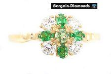 tsavorite green garnet flower 14K gold ring birthstone birthday love promise