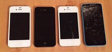 Job lot of 4 smartphones défectueux non testés spares-apple iphone 4S & iphone 5c