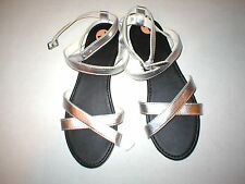 New Womens Hollister M 8 9 Sandals Wrap Silver White Girls Cross Strap 8.5 Metal