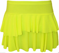 Lady Girls Tier Frill Gym Dance NEON SKIRT 80's fancy dress tutu PARTY size 8-16