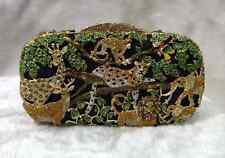Black~Handmade Crystal Zoo Forest Jungle animals Evening clutch bag