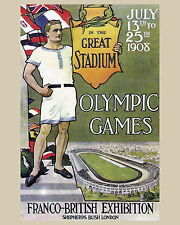 1908 London Summer Olympics Poster - 8 x 10 Color Photo