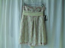 Kenzie Skirt Size 10 Pink Gray Beige 100% Silk with Mesh Top Layer and Belt NWT