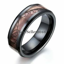 Black Ceramic Men's Hunting Camo Camouflage Ring Comfort Fit Wedding Band 8mm