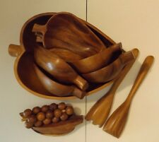Hand Crafted MONKEY POD 10 PIECE WOOD SALAD BOWLS FORK SPOON & 3 PIECE FRUIT SET