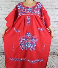 4XL Red Peasant Tunic Boho Hippie Hand Embroidered Mexican Dress Tunic