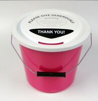 3 Charity Fundraising Money Collection Buckets with Lids, Labels and Ties -Pink