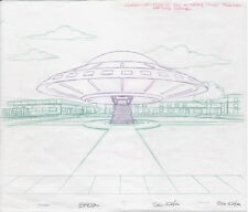 Original SIMPSONS FLYING SAUCER Production DRAWING (1990) ANIMATION FOX TV
