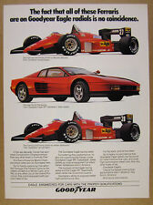 1985 Ferrari Testarossa & F1 Race Cars photo Goodyear Tires vintage print Ad