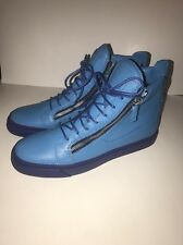 New Men's Giuseppe Zanotti High Top Zip Sneakers, Blue, Size 12,EU 45