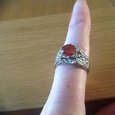 A  Stunning Ladies  Ring with a  Large Red 'Stone' Size S .beach find