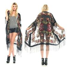 Sheer Silk Burnout Velvet Fringe Hippie Boho Gypsy Black Festival Kimono Jacket
