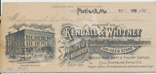 Kendall & Whitney Agricultural Warehouse PORTLAND MAINE - Billhead ME 1913 1915