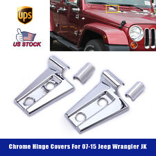 For 2007-2015 Jeep Wrangler JK Rubicon Hood Latch Hinge Cover Trim Chrome 2 PCS