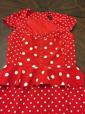 Women's H&M Pin Up Style Pencil Dress Red & White Polkadot Size 4