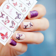 1 Sheet Nail Art Water Decals Transfers Stickers Flying Butterfly Flower Sticker
