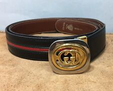Gucci Leather Black Red Stripe Gold Buckle Belt Men's 40 Made In Italy