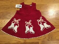 NWT Baby Gap Red Velvet Skating Skate Appliqué Christmas Dress, 3-6M