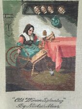 Vintage Bucilla Trame Needlepoint Canvas Old Woman Spinning Maes Preworked