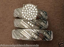 His Her Mens Womens CZ Rings Trio Set Wedding Rings White Gold over Silver NEW