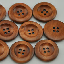 20pcs Coffee 4 Holes Round Wooden Button For Sewing 30mm WB222