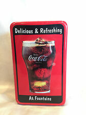 Collectible 1997 Coca-Cola -Coke Delicious and Refreshing at Fountains Metal Tin