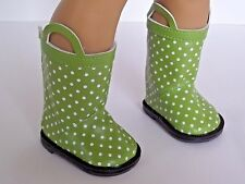 "Green Polka Dot Rain Boots Fits 18"" American Girl Doll Clothes Shoes"