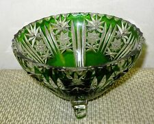 VINTAGE Bohemian Cut to Clear Emerald Green Crystal 3 Footed Bowl
