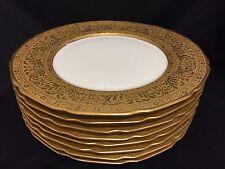 Antique T & V Limoges France Gold Encrusted Trim Dinner Plates Set of 8