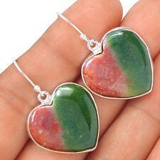 Heart - Blood Stone 925 Silver Earrings Jewelry EE20271