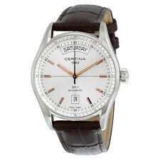 Certina DS 1 Day Date Automatic Silver Dial Brown Leather Ladies Watch