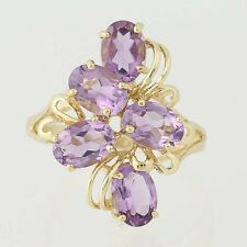 Amethyst Cluster Ring - 10k Yellow Gold Size 7 Oval Cut 4.25ctw