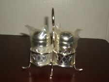 Vintage Cobalt Blue Glass W/Metal Overlay Salt & Pepper Shaker Set W/ Holder