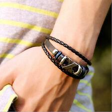 Bracelet PUNK Tressé PU Cuir Alliage Métal Manchette Bijoux Cadeau Homme Femme